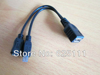 Freeshipping Usb type A female to Micro USB B male Host OTG Cable + Micro USB B female power