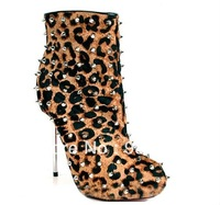 popular leopard studded women boots 2013! sexy stiletto heel leopard spikes boots!