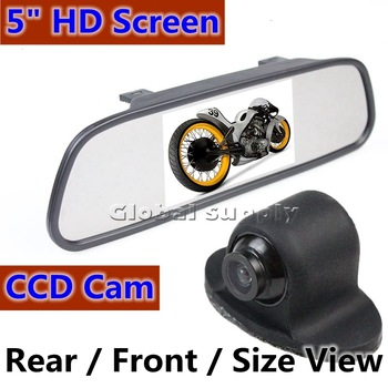 "5"" Inch HD Rearview Mirror TFT Car LCD Rear View Rearview DVD Mirror Monitor +Waterproof Backup Camera Cam"