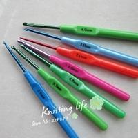 7Pcs/set  Multicolour Plastic Aluminum Crochet Hooks Knitting Needles , Knitting Tools