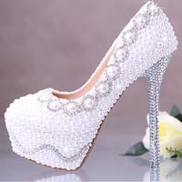 New arrival fashion pearl crystal wedding shoes bridal shoes women pumps high heels sapatos shoes platform ladies shoes
