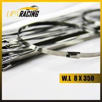 100 pcs 8x300mm Flat Ball Locking Stainless Steel Zip Ties Exhaust Header Wrap