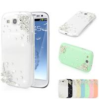 For Samsung Galaxy S3 i9300 Diamond Case Bling Silver Flower Back Cover 3D Crystal Swarovski Rhinestones Handmade Design Hot
