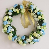 Artificial flower decoration garland wedding arch decoration hangings door trim wedding decoration garishness blue 35cm