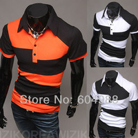 New Arrive Men slim short sleeve T-shirt Men's splice T-shirts