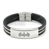 Topearl Jewelry 3pcs 304 Stainless Steel Wire Rubber Batman Bracelet MEB232