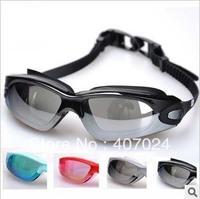 Retail swimming glasses big frame plating swim lens anti-fog uv protection frame swimming glasses with earplugs 734008