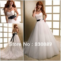 2013 New Style A-Line Long White/Ivory Tulle Sashes Sleeveless Lace Up Bridal Gown Wedding Dresses Custom Size Free Shipping