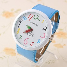 Womage Quartz Watch PU belt colorful numbers white Face Watches Clock hours womage Wrist watch YJP45(China (Mainland))