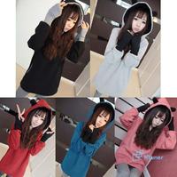 Sweet Cute Bears Ears Hot Sweet Casual Female Loose Long Fashion Thick 2014 New Women Outerwear Hoodies