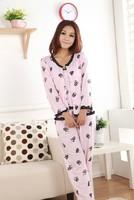 Spring Autumn Thick Rose Pattern Three-piece Thick Lady Pajamas Cotton Long-sleeved Sleepwear