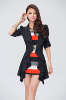 2014 summer luxury fashion dresses women with ruffles&belt, Black/Blue/Orange, size M, L, XL, XXL