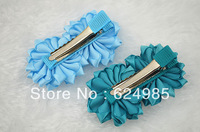 Anna $10 Boutique 15 colors handmade satin ribbon flower with pearl on Grosgrain Ribbon Alligator Clip hair accesories 12pc/lot