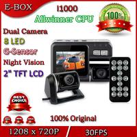"Free shipping I1000 Car DVR Camera Dual Lens HD 720P 2.0"" LCD G-Sensor 120 Degree View Angle H.264 Dash Cam Recorder"