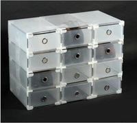 5 pcs Colored Transparent Plastic Shoebox Thick Metal Edging Shoe Box Drawer Shoe Storage Box Plastic Storage Box Debris Box