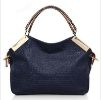 2014  Women's Genuine Leather Handbag Cowhide One Shoulder Messenger Bags for Women  embossed crocodile Leather Bags