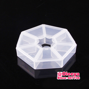 5pcs/lot 7 Grid Plastic Jewelry Boxes Acrylic Cosmetic Case Nail Art Pill Box Portable Storage Container Rhinestones Box Y2687(China (Mainland))