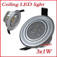 8pcs/lot 3W Ceiling downlight  Recessed Spot led lamp silver 85V-265V for home illumination Free shipping