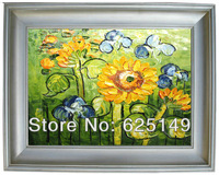 Classic themes, the sunflower paintings  cicada handmade oil painting, painting portraits and small batch to support custom