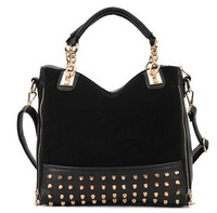 Free Shipping 2013 hot sell new rivet package stitching flannel bag shoulder bag, brand fashion Rivet Studded Messenger Bag