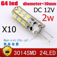 [10 pcs/lot] G4 base led light 24 smd 3014 chip DC 12V 360 Degree CE ROHS Silica gel free shipping 10mm diameter corn light