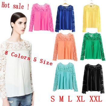 Free Shipping Newest 2014 Summer Blouse Women long sleeve cutout flower chiffon blouse lace shirt
