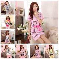2014 Women Nightwear Pijama 2014 Spring And Summer Nightgown Sleepwear Female Short-sleeve Cartoon Sexy Lounge