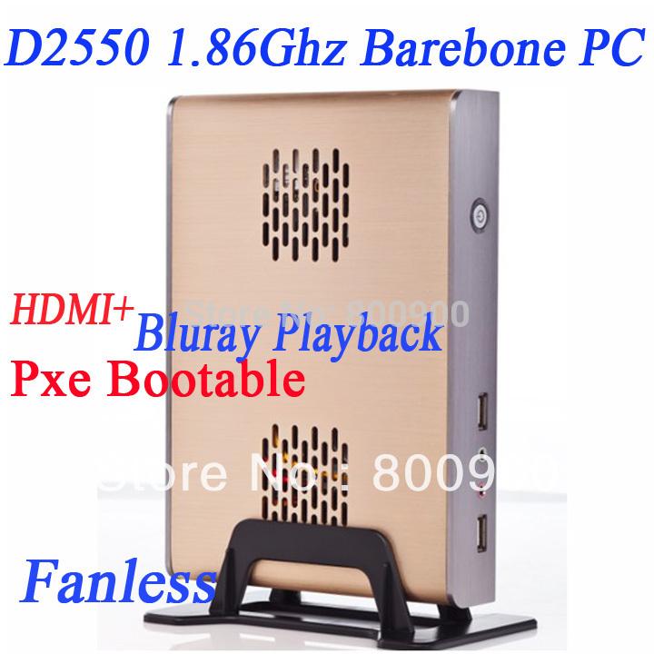 Wholesale INCTEL barebone D2550 with msata mini pcie slot Alluminum chassis fanless