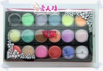 Free shipping 18 PCS Color Acrylic Powder Dust For Nail Art Glitter Tips Makeup Set, HJS007
