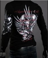 2015 New men's eagle tattoo graphic printing t shirt  men long sleeve Ralph camisetas Casual Slim Fit tshirt Free shipping