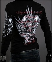 New  Casual  Fashion Slim Fit European Style Eagle Tattoo Print  Black/White/Wine Res  Men Polo Shirts