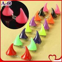 Free shipping 24pcs=12pairs the devil horns hairpin 15 neon colors angle Harajuku cute exaggerated hair clip bobby pins