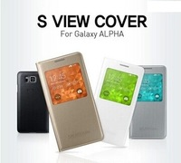 New Arrival  Original Flip Case For Samsung Galaxy Alpha,S-view Cover,Free Gift & Shipping