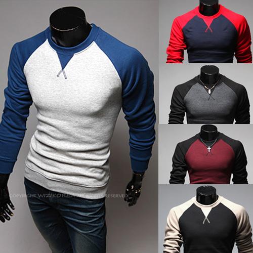 Free 2014 Fashion Brand Men's Clothing,Contrast-Color Design Baseball Long Sleeve Tee,Sports Casual Men's O-neck Men's T Shirt(China (Mainland))