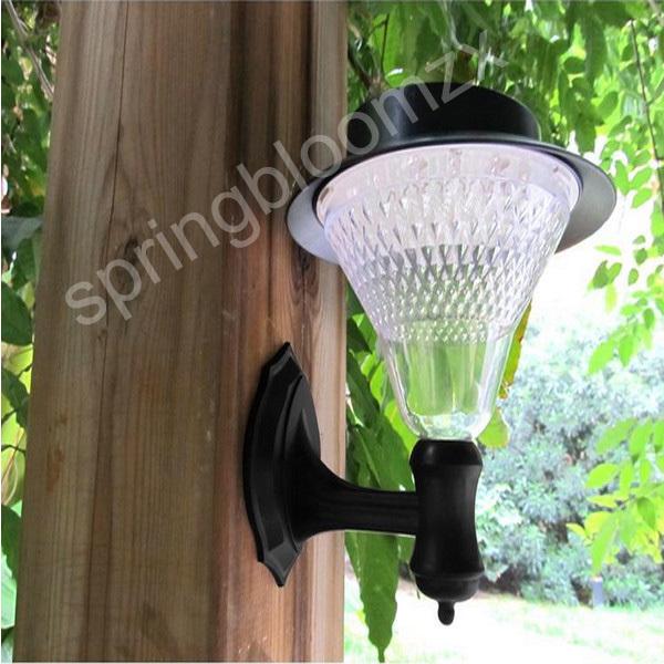 New solar powered 16 super lumineux des ampoules led chaud/lumière blanche clôture chéneau lumière extérieure lampe murale jardin jardin voie