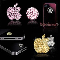 Silver Shine Luxury for iPhone 5 3/4G/4S iPod iPad Bling Diamond Crystal Deco Home Button & Logo Sticker