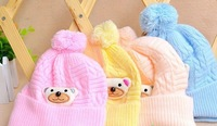 Autumn and winter baby hat baby hat newborn cap tire bear pocket hat line super-soft fleece baby hat
