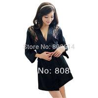 Smart Womens Lace Back Pajamas Sets Sleepwear Nightwear + Belt + T-string Sexy Costumes Free Shipping