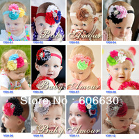 10 pcs/lot 2013 Newest baby headband,kid's hair band,diamond/rhinestone/pearl/sequin bow shabby flower headband Christmas gift
