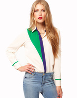 2014 New Fashion Mixed Colors Personality Loose Chiffon Casual Women Blouses Shirts wp0174