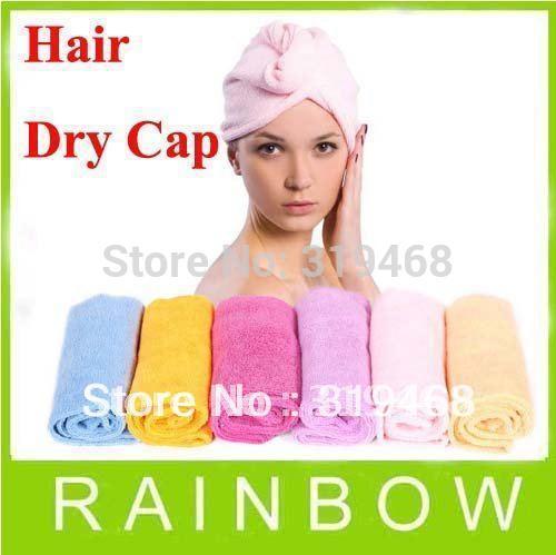 10pcs/lot RA Lady's Magic Washing Soft Microfibre Bathing Hair Care Drying Dryer Towel Hat Cap Quick Dry Bath Tool Colorful(China (Mainland))
