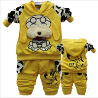 Wholesale 2013 3Sets/Lot Big Ears Dog Baby Clothing Sets, Spotted Dog Hooded Top + Pants Sport Suits 4 Colors 0~2T Free Shipping