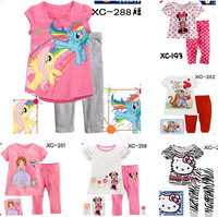 Free Shipping 6sets children short sleeve pajamas, kids Cartoon pyjamas, boys girls Tigger Minnie Mickey Hello Kitty sleepwear