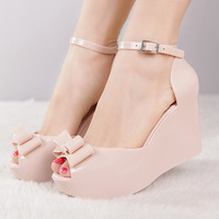 Free shipping New arrival 2013 melissa jelly shoes bow platform wedges female sandals open toe high-heeled shoes