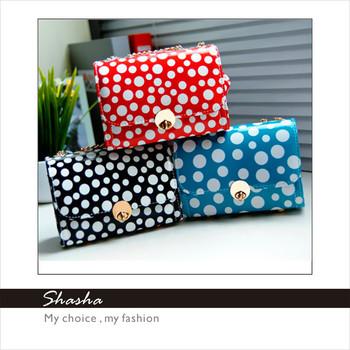 New sale 2014 fashion girls candy messenger bags women leather handbags child cute dot shoulder bag kids gifts AXB00001