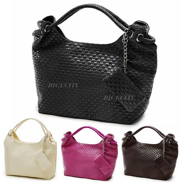 Women Pu Leather Knitted Korean Design Purse Handbag Shopper Shoulder Bag 4 Color (bx8)(China (Mainland))