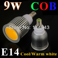 Free Shipping 2013 new Energy saving 9W E14 85-265V adjustable COB LED Spot Light Bulbs Lamp white/ Warm white High Brightness
