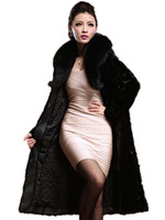 New Arrive Russian Real Mink Fur Coat With Fox Collar  Fur Cost Women  Wool Overcoat  Natural Fur Coats Free shipping