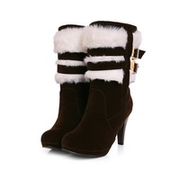 Free Shipping Ankle Boots High Heel Shoes Winter Fashion Sexy Warm Fur Women Boot Pumps P1986 On Sale Size 34-39,HONG5808-5HX