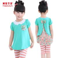 PROMOTION 1311550  Summer Sky Blue+ Red Girl Children Chiffon Back Girl Floral Printing Sweet Princess Children Baby Girls tops